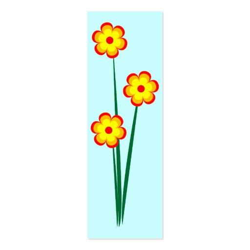 Three orange flowers business card template