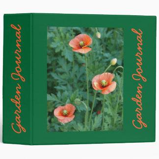 "Three Orange Poppies Garden Journal - Avery 2"" Bin 3 Ring Binder"