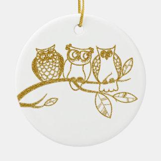 Three Owl Babies in Gold Glitter Ornament