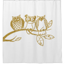 Three Owl Babies in Gold Glitter Shower Curtain