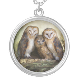 Three Owl Moon Wearable Art Necklace