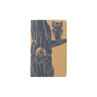 three owlets in a tree pocket moleskine notebook