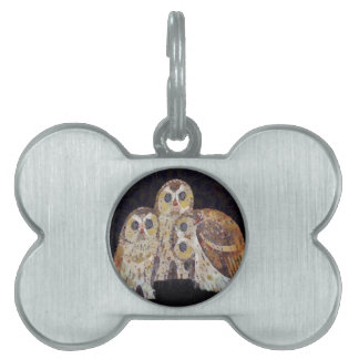Three Owls - Art Nouveau Inspired by Klimt Pet Name Tag