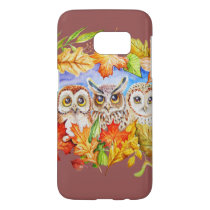 Three owls autumn samsung galaxy s7 case