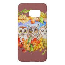 Three owls autumn samsung galaxy s7 case
