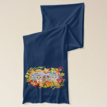 Three owls autumn scarf