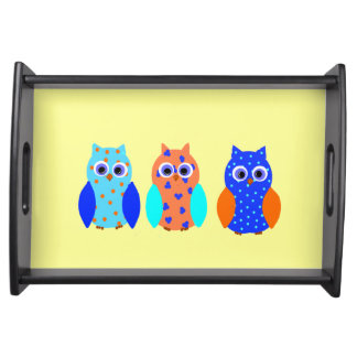 Three Owls, cute colorful, on Serving Trays. Serving Tray