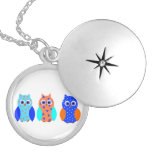 Three Owls on multiple products Locket Necklace