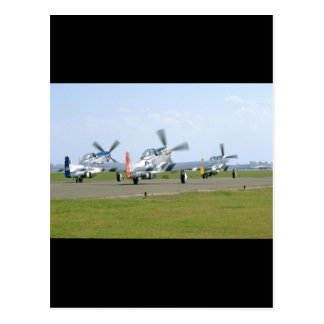 Three P51 Mustangs Taking Off_WWII Planes Postcard