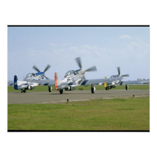 Three P51 Mustangs Taking Off_WWII Planes Poster