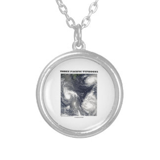 Three Pacific Typhoons Picture Earth Silver Plated Necklace