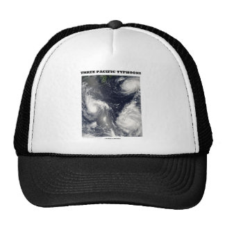 Three Pacific Typhoons (Satellite Picture) Trucker Hats