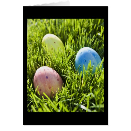 Three Painted Eggs Greeting Card