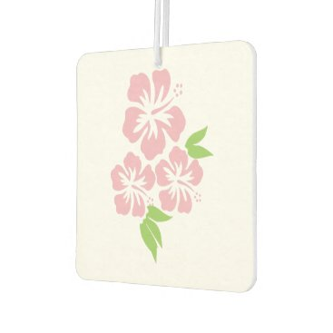 Beach Themed Three Pale Pink Hibiscus Tropical Flowers Car Air Freshener