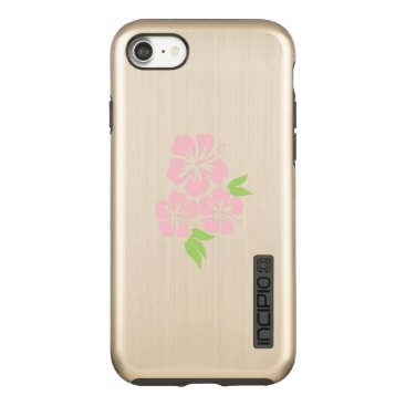 Beach Themed Three Pale Pink Hibiscus Tropical Flowers Incipio DualPro Shine iPhone 7 Case