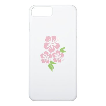 Beach Themed Three Pale Pink Hibiscus Tropical Flowers iPhone 7 Plus Case