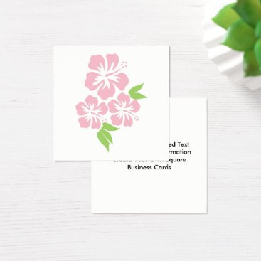 Beach Themed Three Pale Pink Hibiscus Tropical Flowers Square Business Card