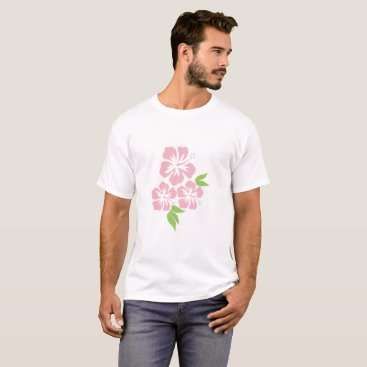 Beach Themed Three Pale Pink Hibiscus Tropical Flowers T-Shirt