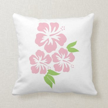 Beach Themed Three Pale Pink Hibiscus Tropical Flowers Throw Pillow