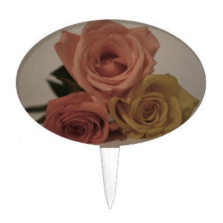 three pale roses Colored in vintage shades Cake Picks