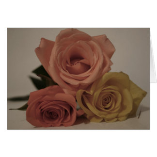 three pale roses Colored in vintage shades Greeting Card