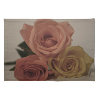 three pale roses Colored in vintage shades Cloth Placemat