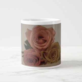 three pale roses Colored in vintage shades Giant Coffee Mug