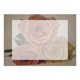 three pale roses Colored in vintage shades Custom Invites