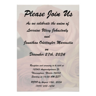 three pale roses Colored in vintage shades Personalized Invitation
