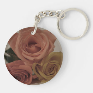 three pale roses Colored in vintage shades Acrylic Key Chains