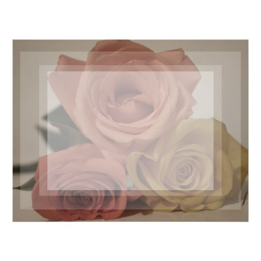 three pale roses Colored in vintage shades Customized Letterhead