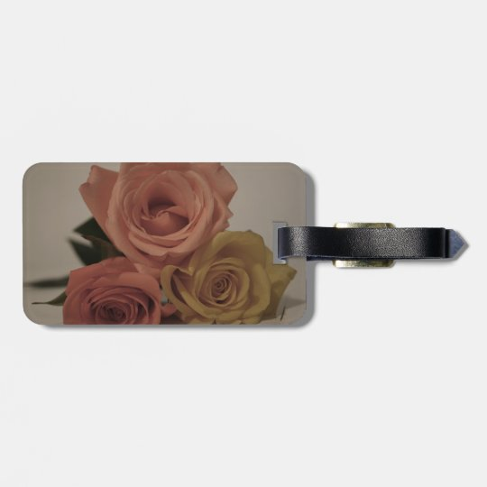 three pale roses Colored in vintage shades Luggage Tag