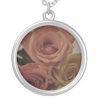 three pale roses Colored in vintage shades Round Pendant Necklace