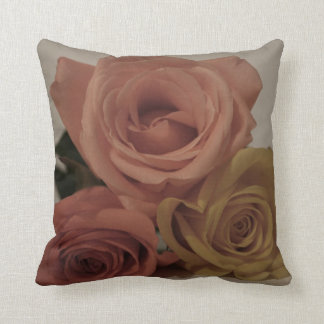 three pale roses Colored in vintage shades Throw Pillow