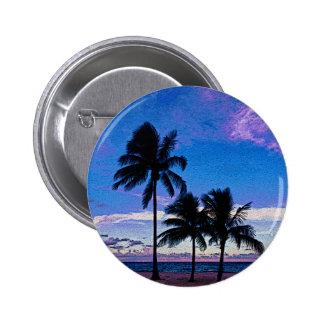 Three Palm trees Hollywood beach Florida. 2 Inch Round Button