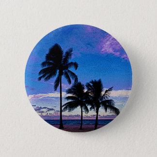 Three Palm trees Hollywood beach Florida. Pinback Button