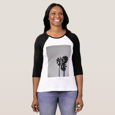 Beach Themed Three Palms Black and White T-Shirt