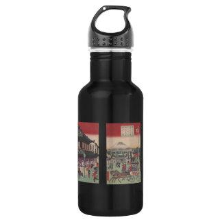 Three Panel Scene of Tokyo Water Bottle