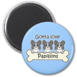 Three Papillons 2 Inch Round Magnet