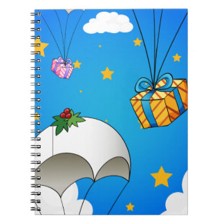 Three parachutes with gifts notebook