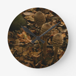 Three parasol mushrooms in the forest 2 round clock