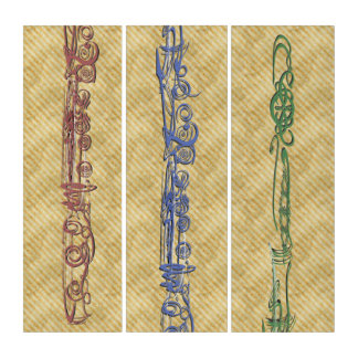 Three-Part Tricolor Flute Sketch Triptych