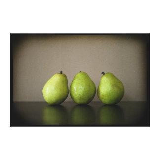 Three pears still life photograph on canvas canvas print
