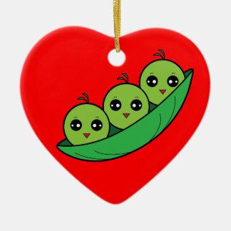 Three Peas in a Pod Ceramic Ornament