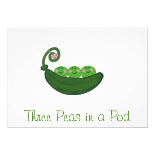 Three Peas In a Pod Personalized Invitation (front side)