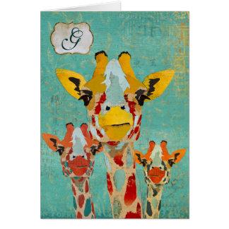 Three Peeking Giraffe  Monogram Notecard Greeting Card