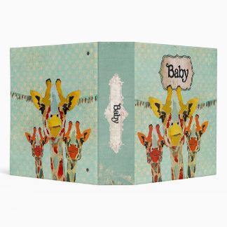 Three Peeking Giraffes Baby Book Vinyl Binder