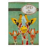 Three Peeking Giraffes  Father's Day Card