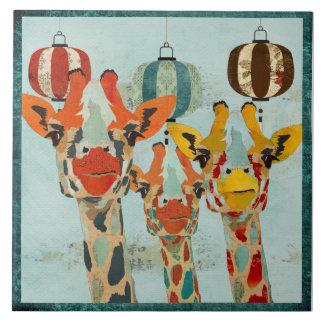 Three Peeking Giraffes  Tile