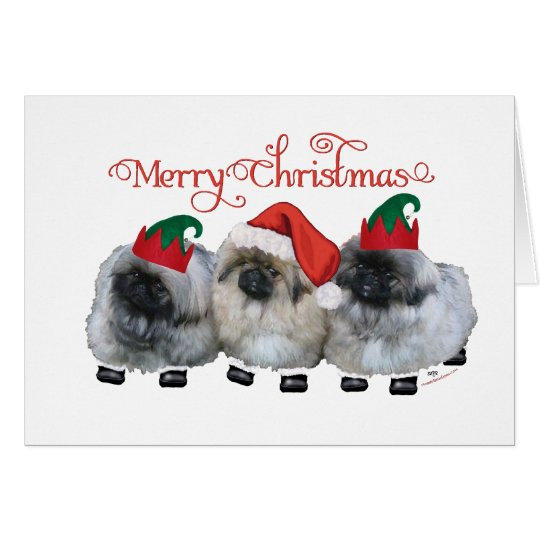 Three Pekingese Puppies Christmas Card